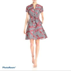 Adrianna Papell Gingham Floral Flared Shirt Dress